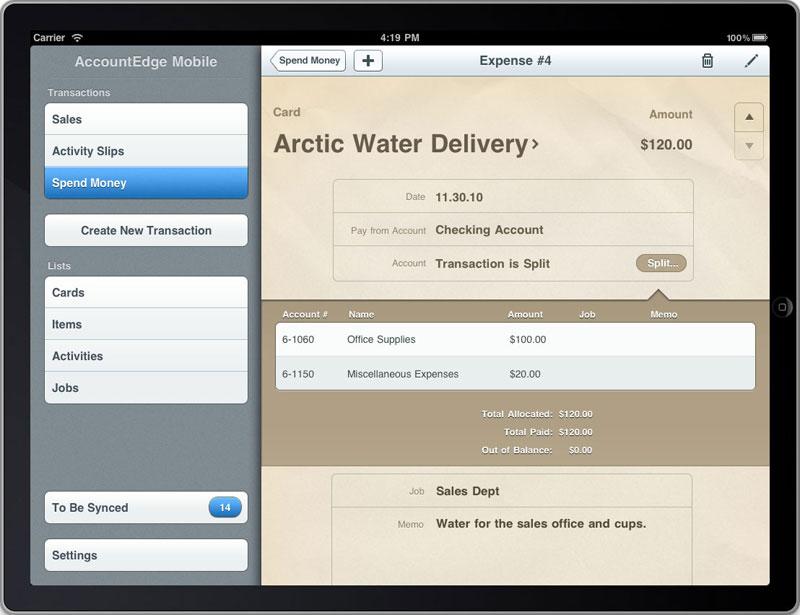ipad - enter expenses