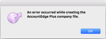 An error occurred creating company file